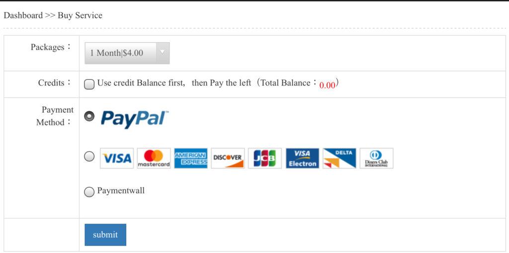 NetflixVPNのプラン購入画面になるので、クレジットカードかPayPalを選び、Submit