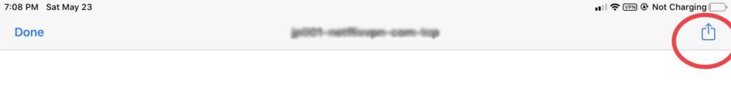 選んだNetflixVPNの設定ファイルをOpenVPNのアプリで開きます